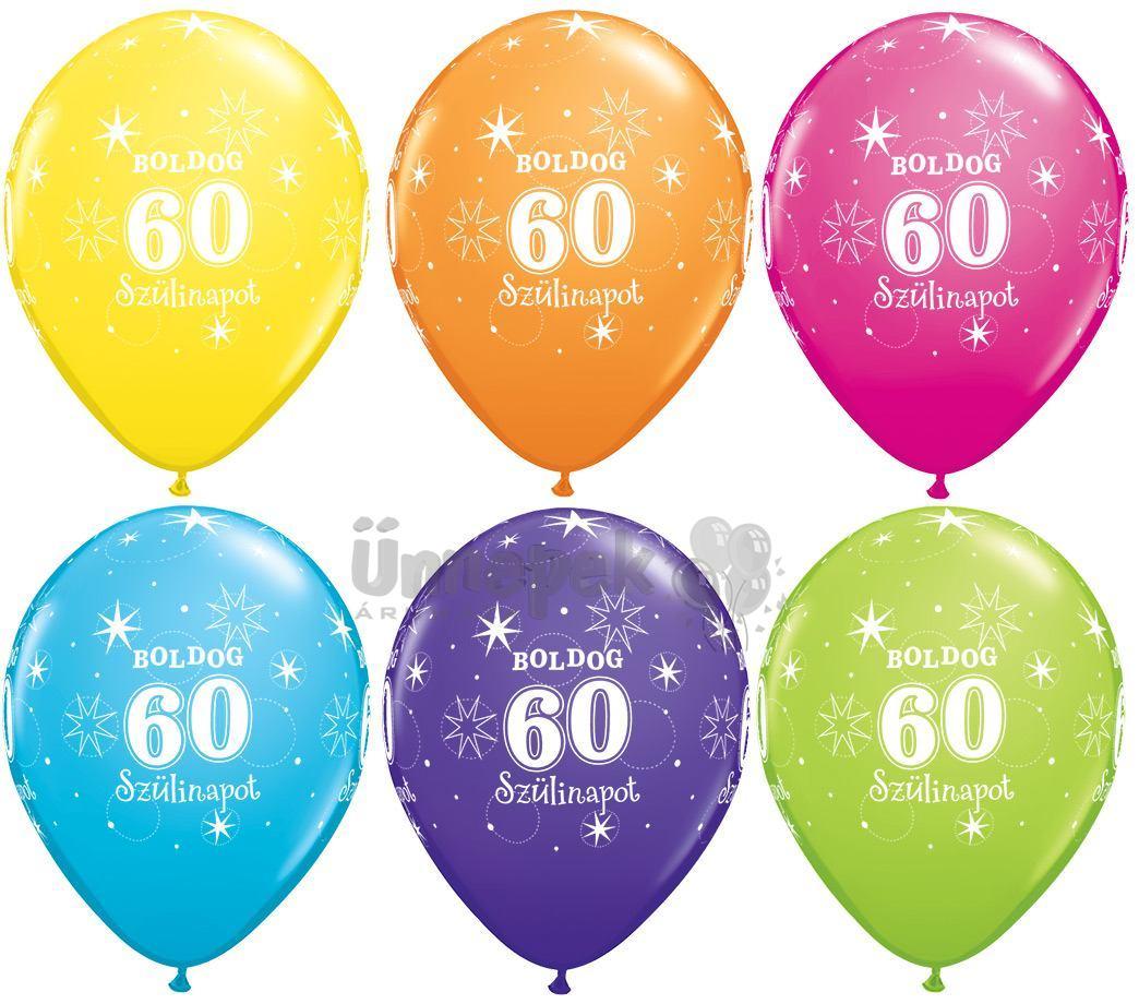 11 inch-es Boldog 60. Szülinapot Feliratú Sparkle Szikrázó-Csillag Mintás Tropical As