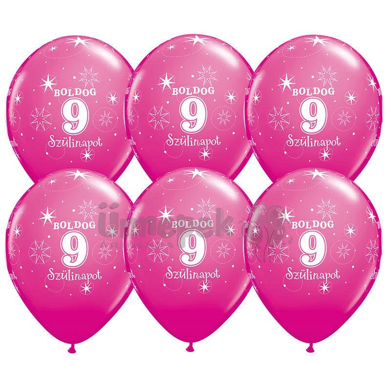 11 inch-es Boldog 9. Szülinapot Feliratú Sparkle Wild Berry Szülinapi Lufi (6 db/csom