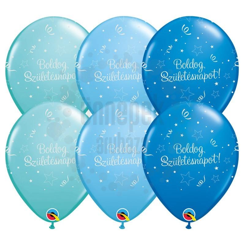11 inch-es Boldog Születésnapot Shining Star II Lufi Fiús Színekben (25 db/csomag)