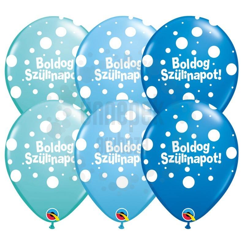 11 inch-es Boldog Szülinapot Big Polka Dots II Lufi Fiús Színekben (25 db/csomag)