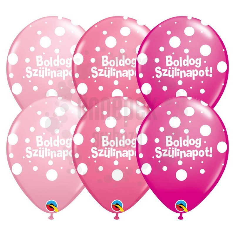 11 inch-es Boldog Szülinapot Big Polka Dots II Lufi Lányos Színekben (6 db/csomag)