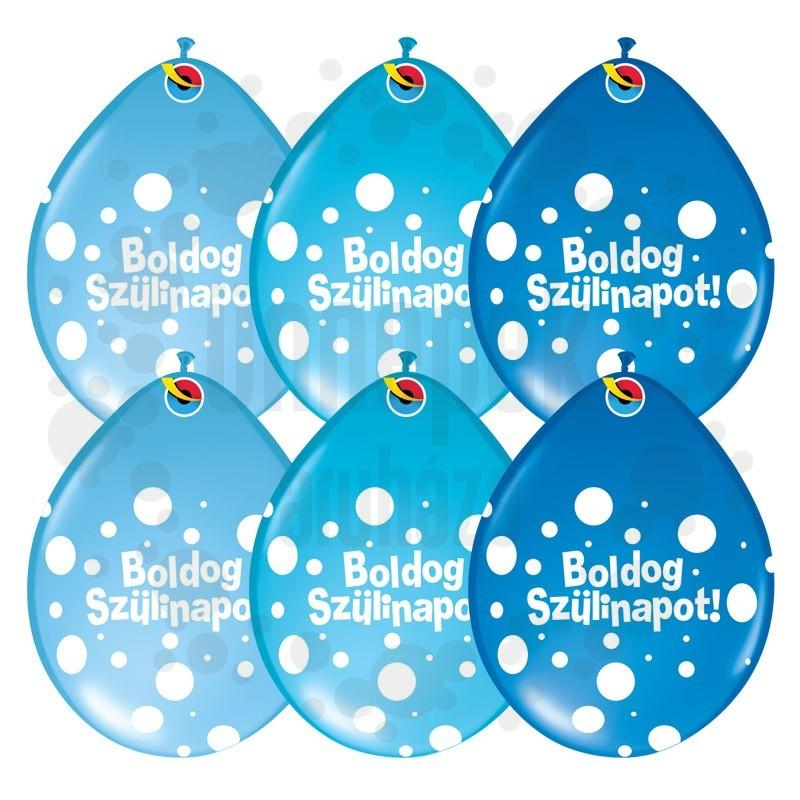 16 inch-es Boldog Szülinapot Big Polka Dots Neck Up Lufi Fiús Színekben (25 db/csomag