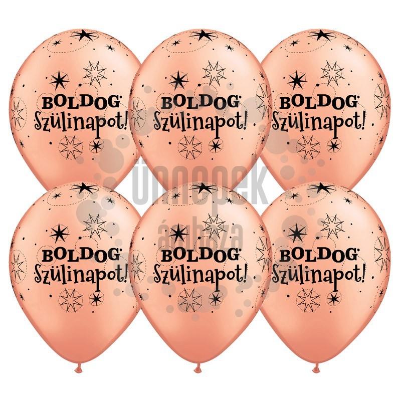 11 inch-es Boldog Szülinapot Feliratú Sparkle Rosegold Szülinapi Lufi (6 db/csomag)