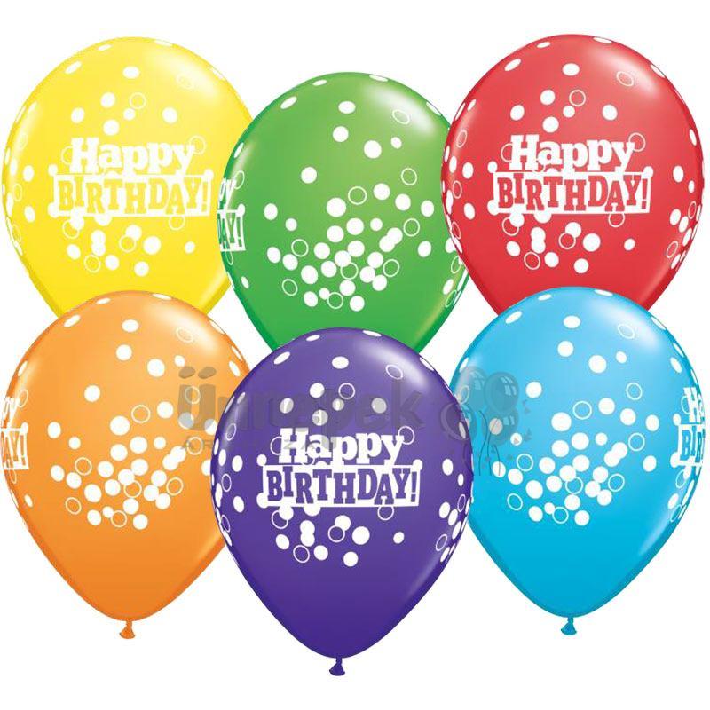 11 inch-es Bright Rainbow Confetti Dost Ast. Szülinapi Lufi (25 db/csomag)