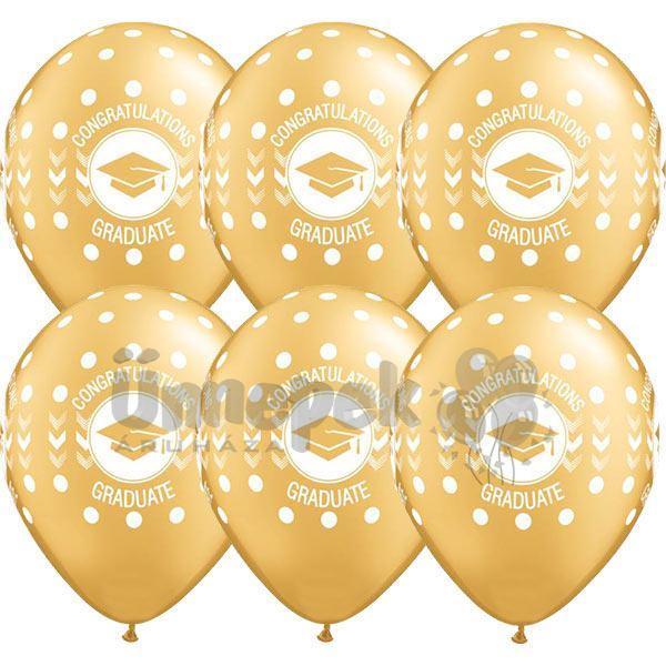 11 inch-es Congratulations Graduate Dots Metallic Gold Ballagási Lufi (25 db/csomag)