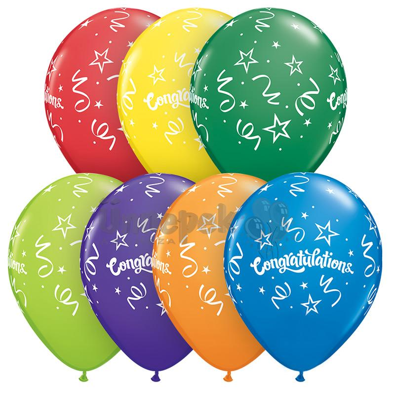 11 inch-es Congratulations Streamers Carnival Assortment Lufi (25 db/csomag)