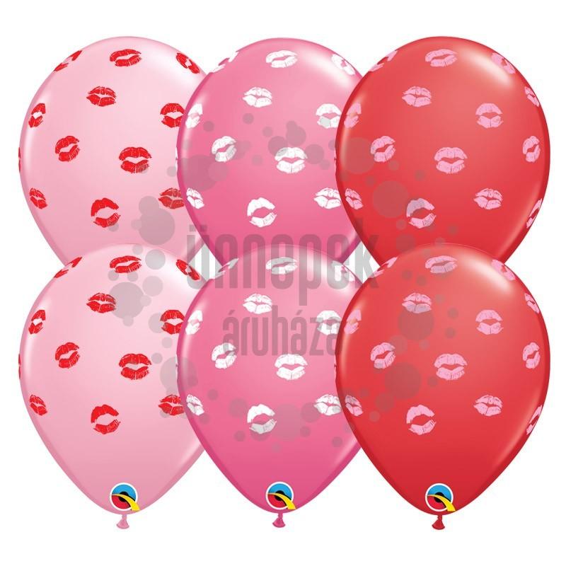 11 inch-es Csókok - Kissey Lips Szerelmes Lufi (6 db/csomag)