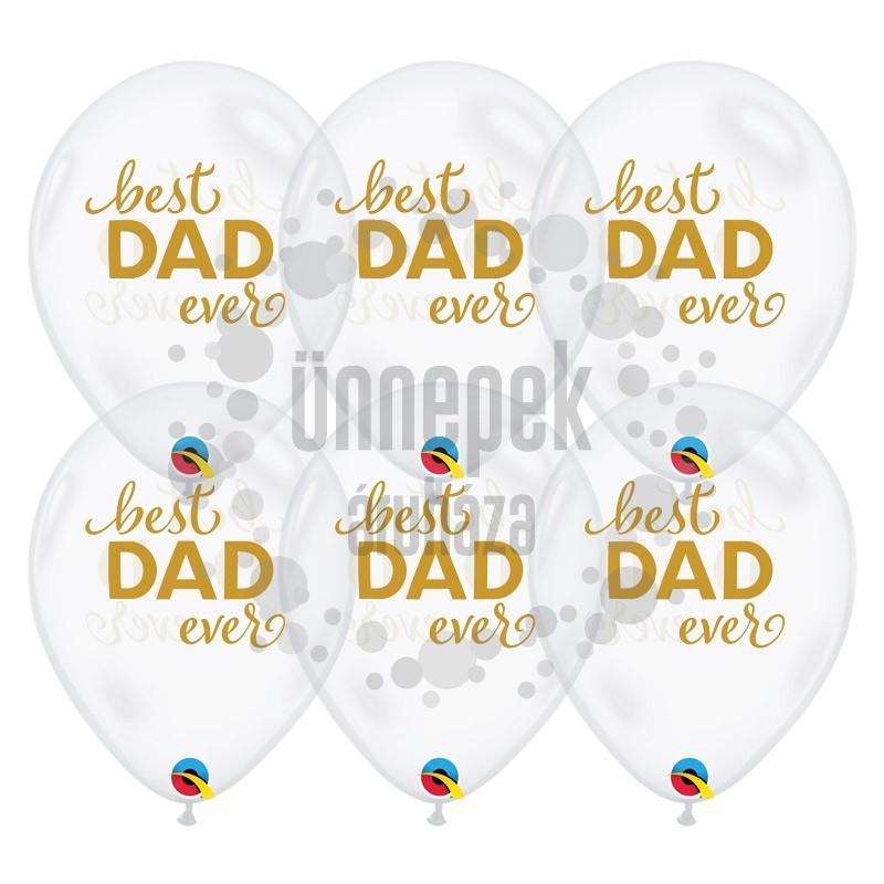 11 inch-es Legjobb Apa - Simply Best Dad Ever Diamond Clear Lufi (25 db/csomag)