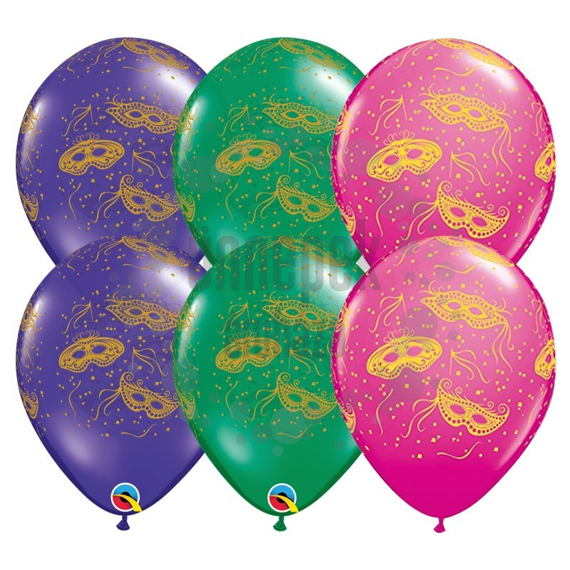 11 inch-es Mardi Gras Masks Lufi Farsangra (25 db/csomag)