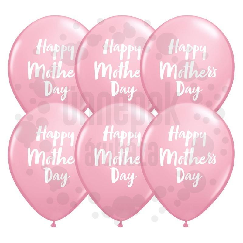 11 inch-es Mother's Day Script Pink Lufi (6 db/csomag)