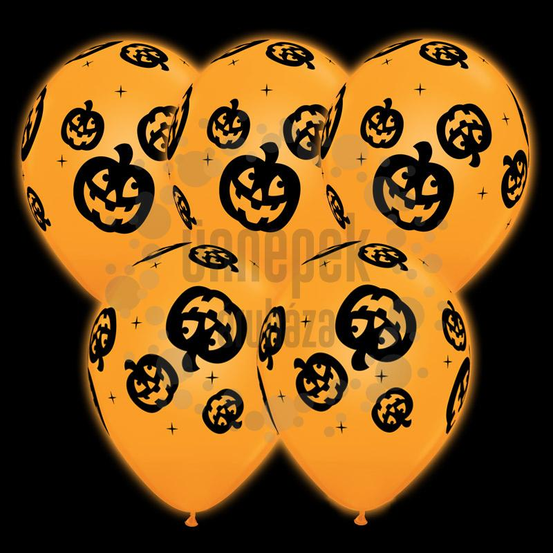11 inch-es Q-lite LED Jack O'Lantern - Tökfej Mintás Halloween Világító Lufi 4 db