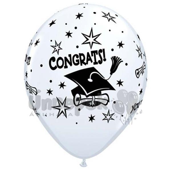 11 inch-es Congrats - You Did It! Ballagási Fehér Lufi (6 db/csomag)