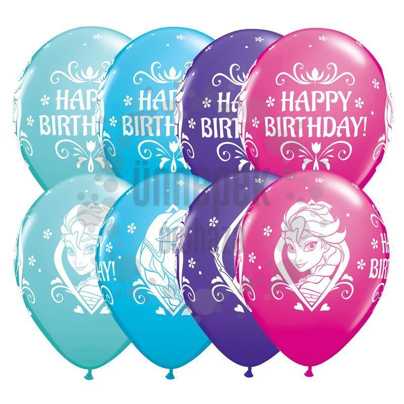 11 inch-es Frozen Birthday - Jégvarázs Asst. Szülinapi Lufi (25 db/csomag)