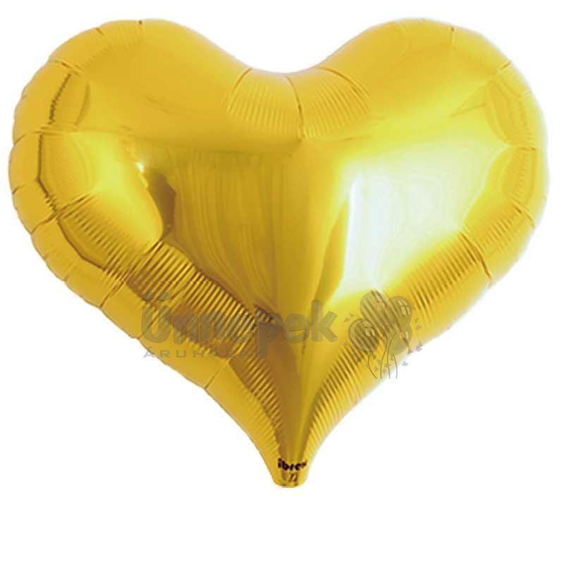 Ibrex 14 inch-es Jelly Metallic Gold Szív Héliumos Fólia Lufi