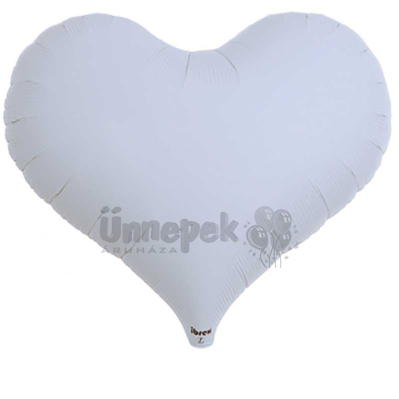 Ibrex 14 inch-es Jelly Metallic White Szív Héliumos Fólia Lufi