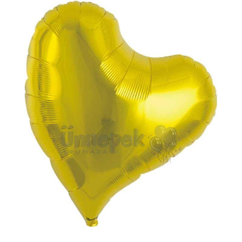 Ibrex 14 inch-es Sweet Metallic Gold Szív Héliumos Fólia Lufi