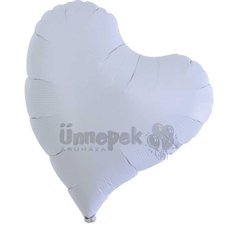 Ibrex 14 inch-es Sweet Metallic White Szív Héliumos Fólia Lufi