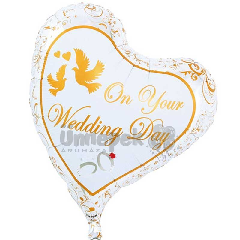 Ibrex 14 inch-es On Your Wedding Day Esküvői Szív Fólia Lufi