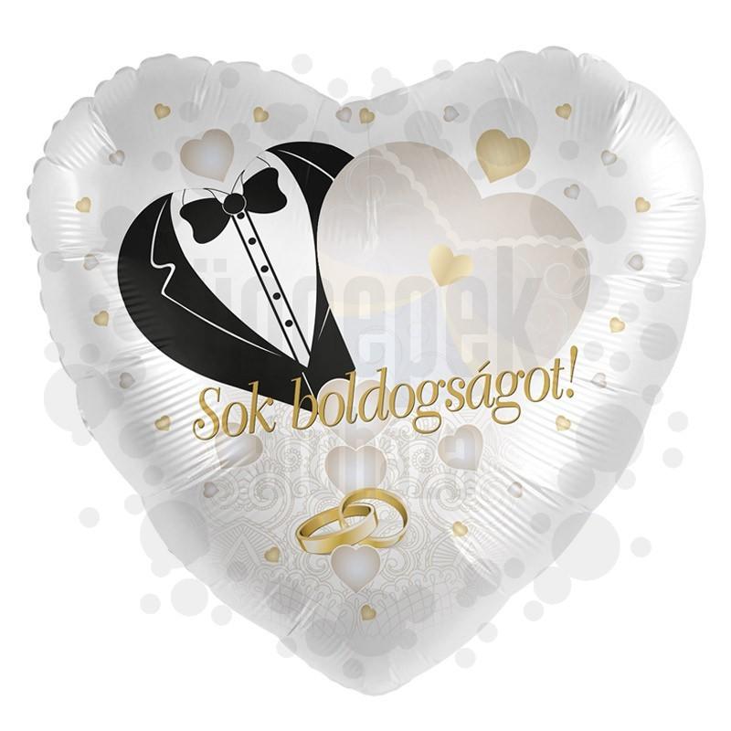 17 inch-es Sok Boldogságot! Feliratú Gyűrű Mintás Arany Fehér Esküvői Szív Fólia Lufi