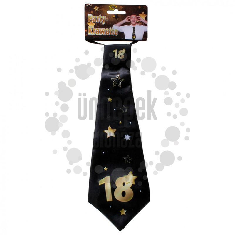 18-as Arany Fekete Csillagos Szülinapi Nyakkendő