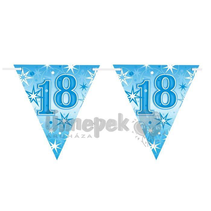 18-as Kék Sparkle Parti Zászlófüzér - 360 cm