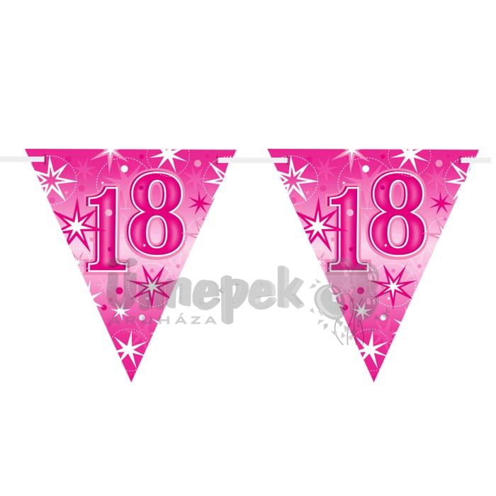 18-as Rózsaszín Sparkle Parti Zászlófüzér - 360 cm