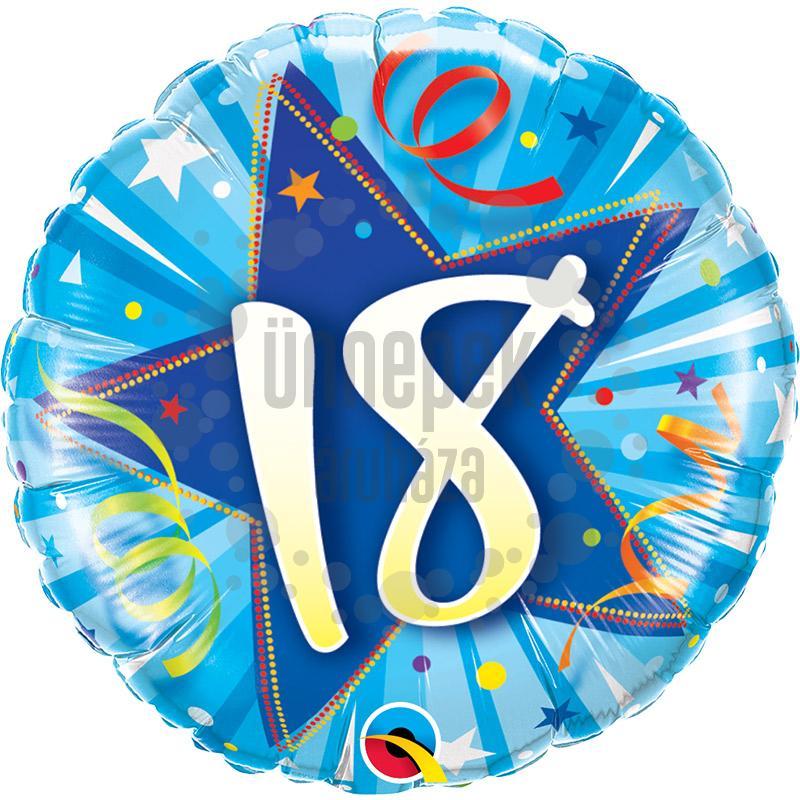 18 inch-es 18-as Shining Star Bright Blue Szülinapi Számos Fólia Lufi