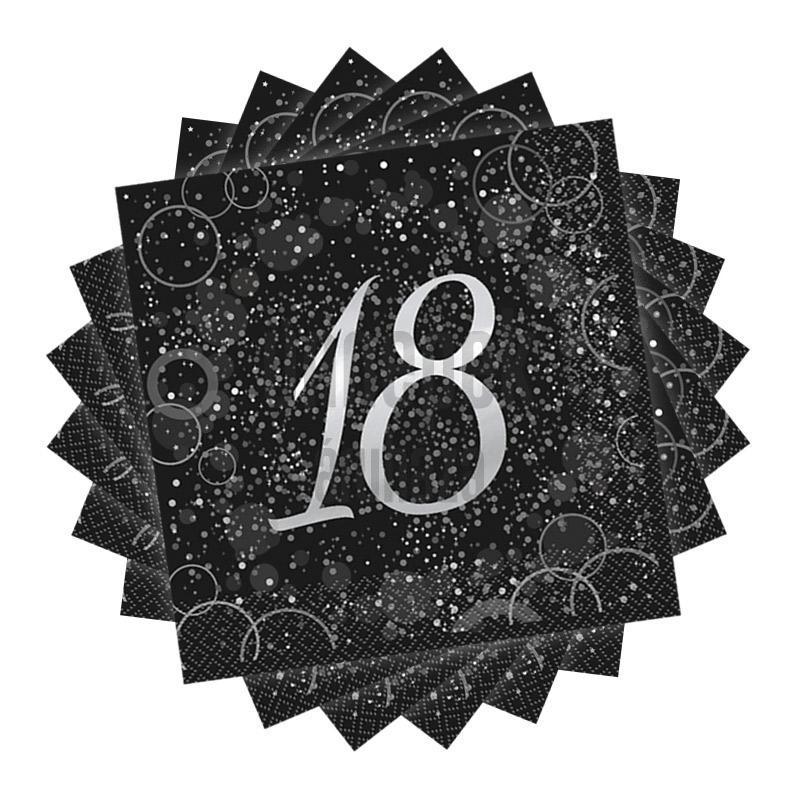 18-as Számos Ezüst Glitz Parti Szalvéta - 33 cm x 33 cm, 16 db-os