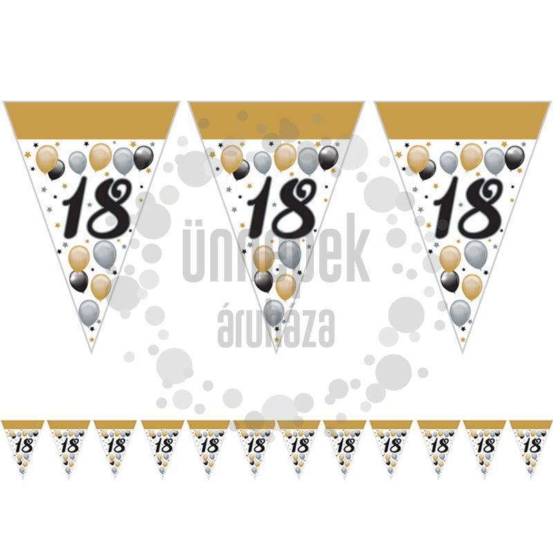 18-as Számos Szülinapi Elegáns Léggömbös Parti Zászlófüzér - 5 m