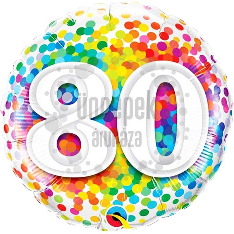 18 inch-es 80 Rainbow Confetti Szülinapi Héliumos Fólia Lufi