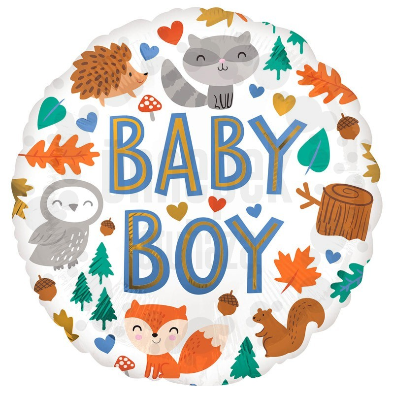 18 inch-es Baby Boy Woodland Fun Fólia Lufi
