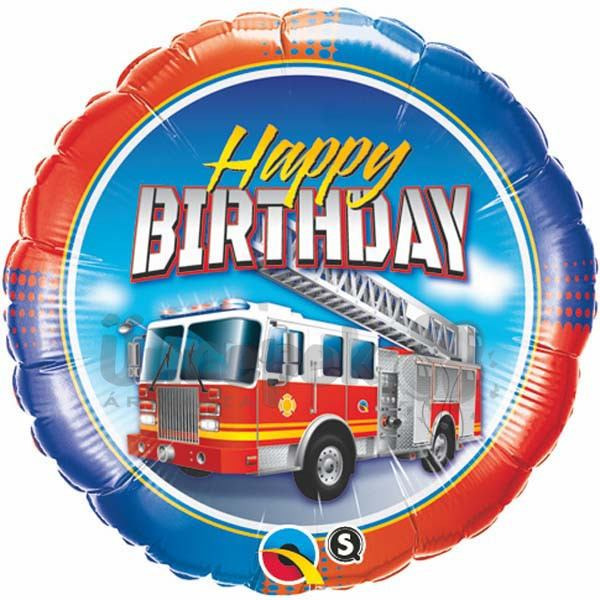 18 inch-es Birthday Fire Truck Szülinapi Fólia Lufi