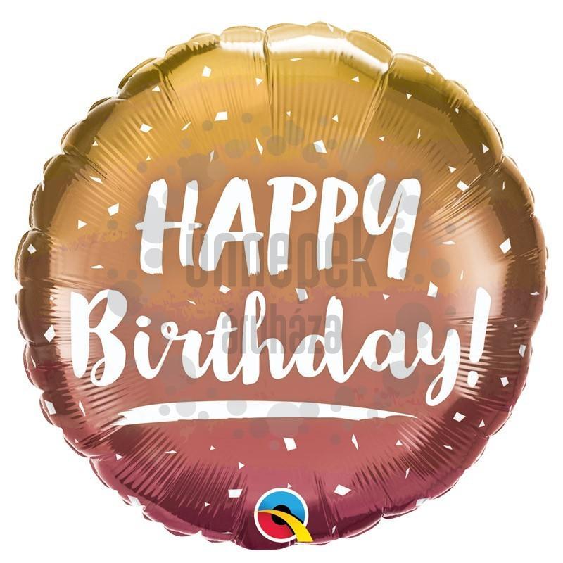 18 inch-es Birthday Gold & Rosegold - Arany Rosegold Réz Szülinapi Fólia Lufi