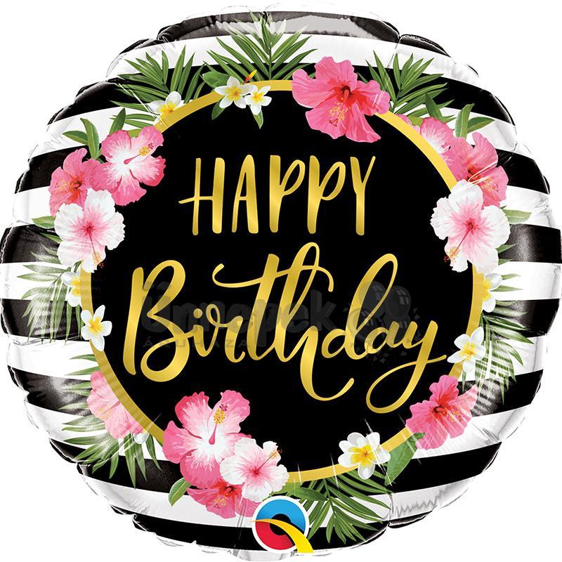 18 inch-es Birthday Hibiscus Stripes Szülinapi Fólia Lufi