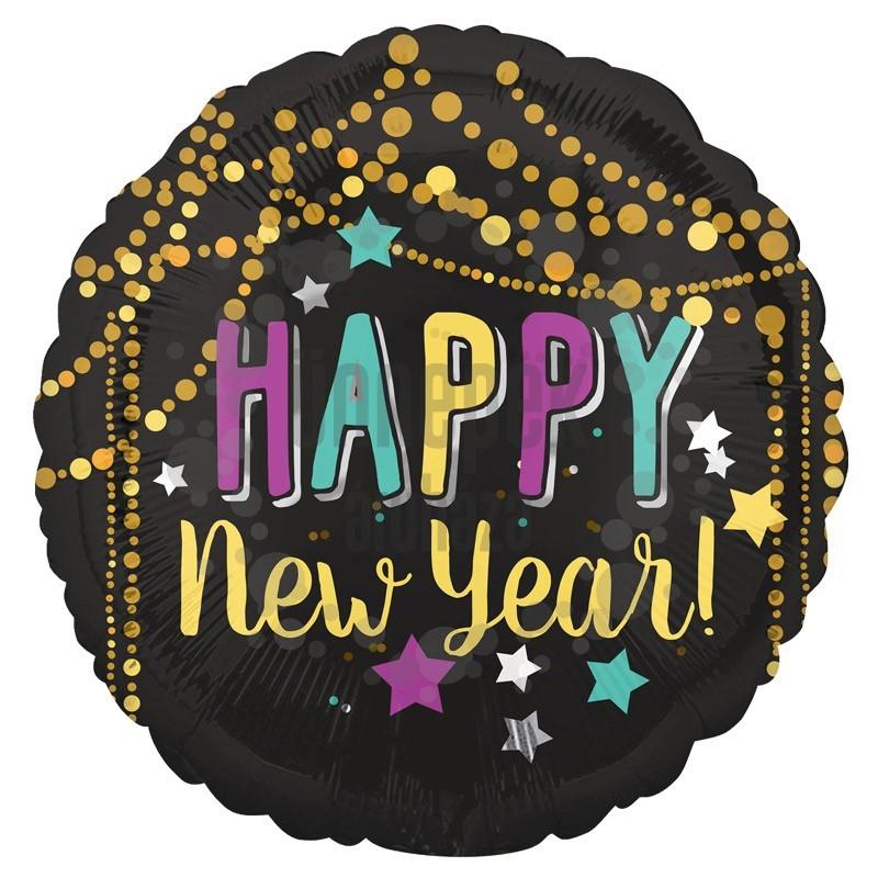 18 inch-es Boldog Új Évet - Festive New Year Szilveszteri Fólia Lufi