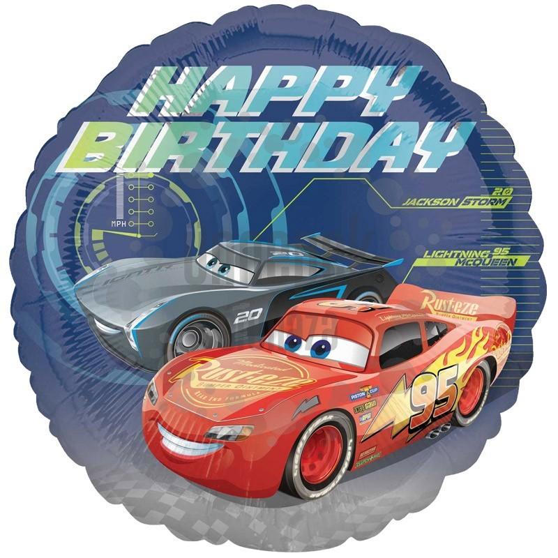 18 inch-es Cars - Happy Birthday - Verdák Szülinapi Fólia Lufi