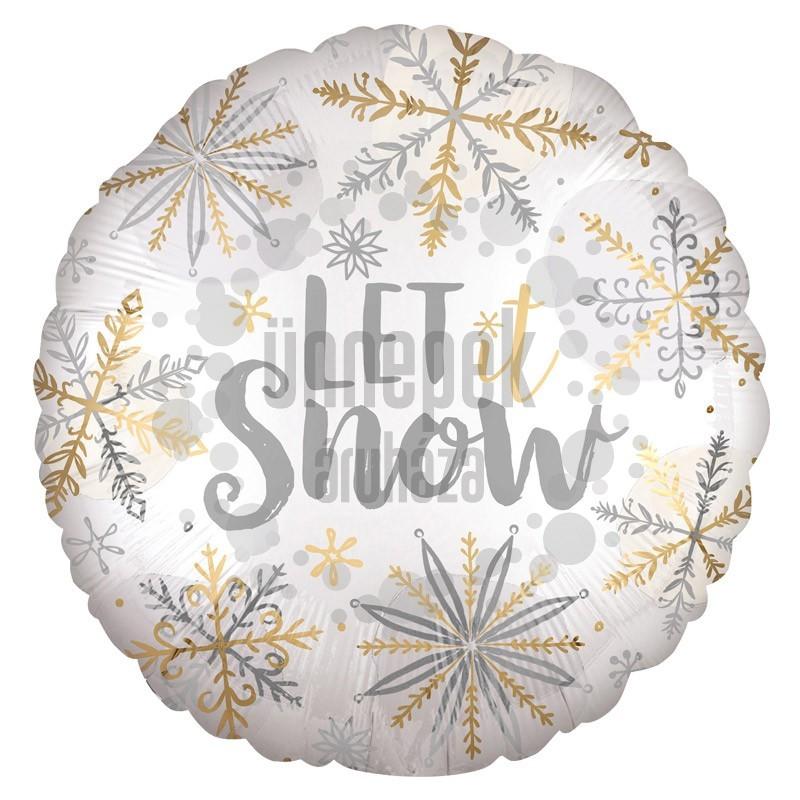 18 inch-es Hópehely Mintás - Let It Snow Karácsonyi Fólia Lufi