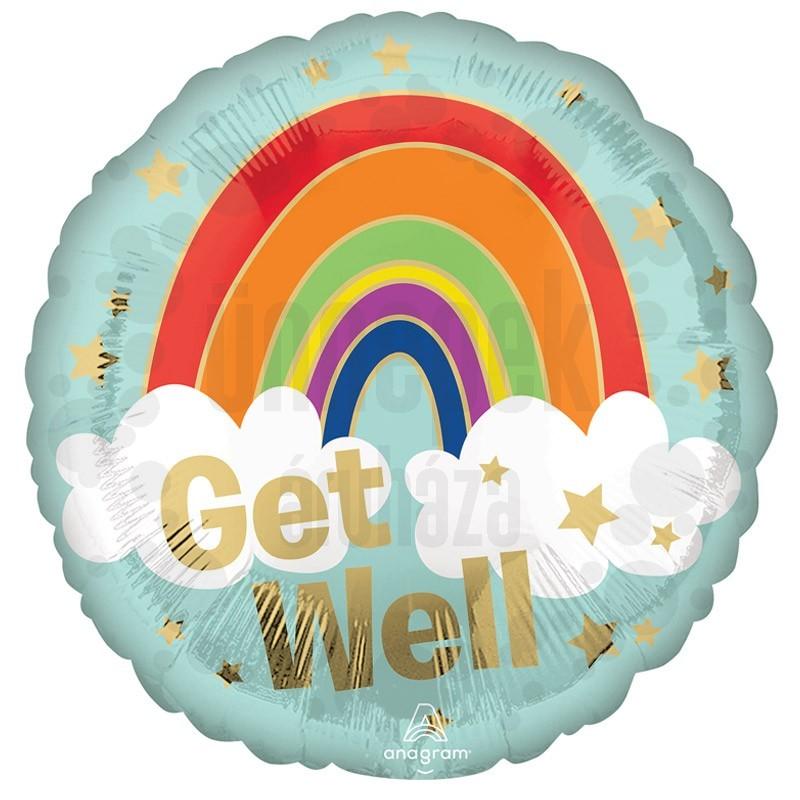18 inch-es Jobbulást - Get Well Golden Rainbow Fólia Lufi