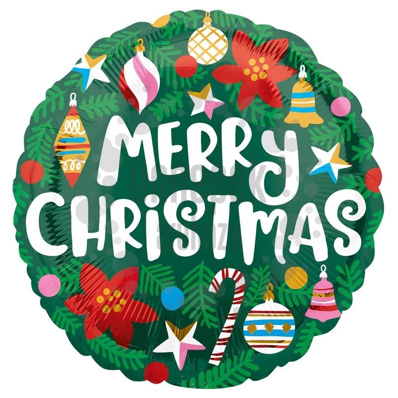 18 inch-es Karácsonyfa Díszes - Merry Christmas Feliratú Karácsonyi Fólia Lufi