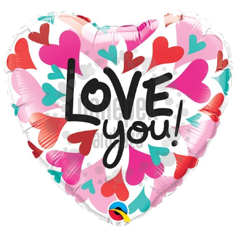 18 inch-es Love You Converging Heart Szerelmes Szív Héliumos Fólia Lufi