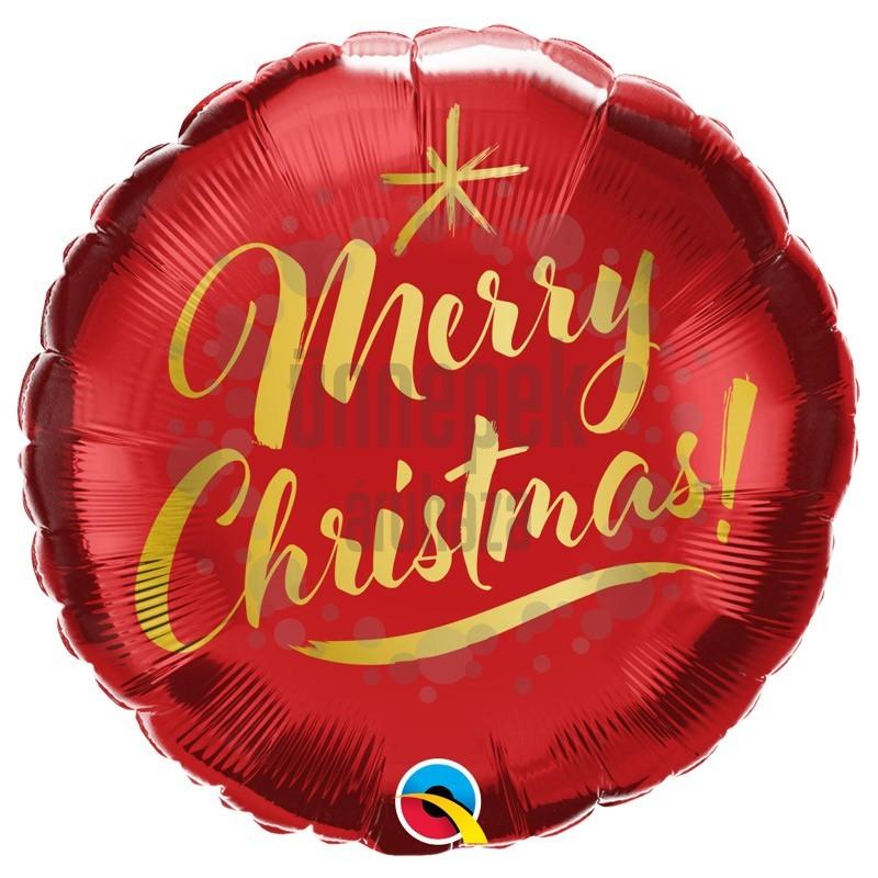 18 inch-es Merry Christmas Feliratú Christmas Gold Script Red Karácsonyi Fólia Lufi