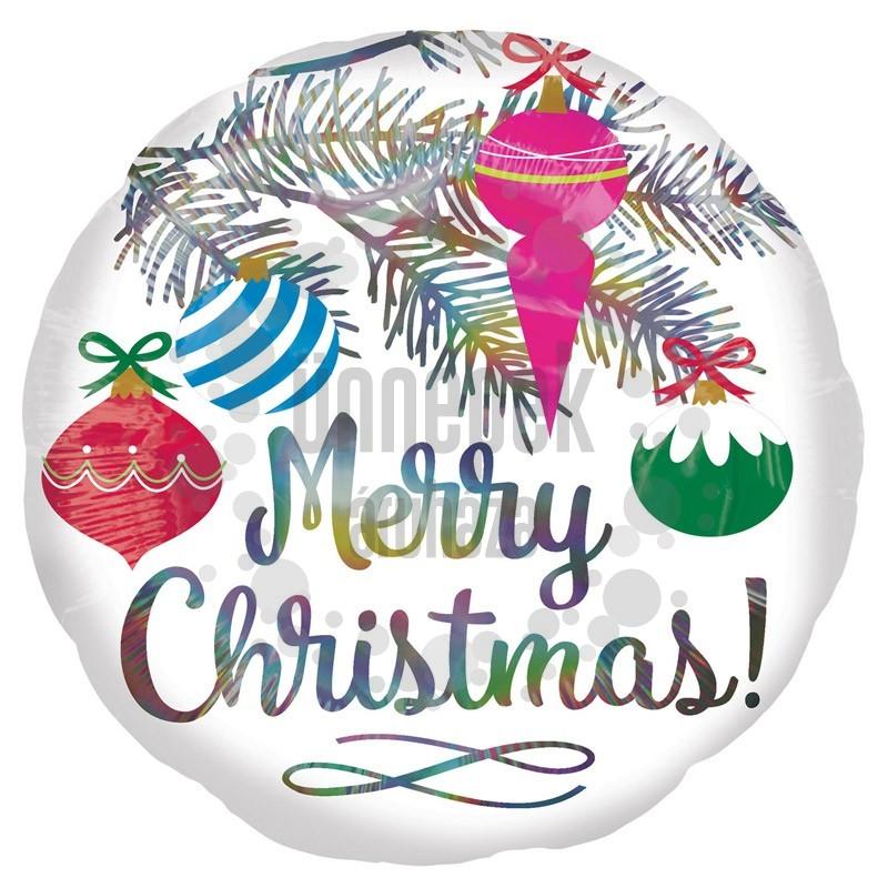 18 inch-es Merry Christmas - Karácsonyfa Dísz Mintás Holografikus Fólia Lufi Karácson