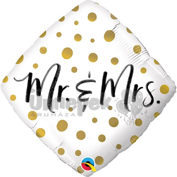 18 inch-es Mr. And Mrs. Gold Dots Esküvői Diamond Fólia Lufi