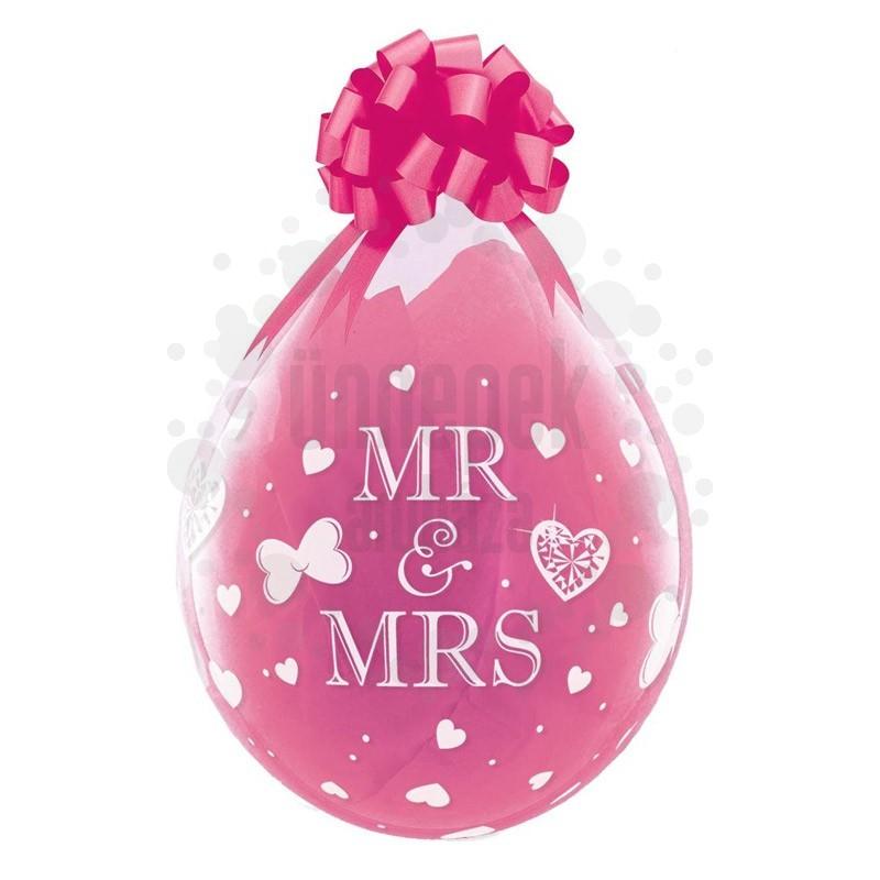 18 inch-es Mr. & Mrs. Esküvői Töltős Lufi (25 db/csomag)
