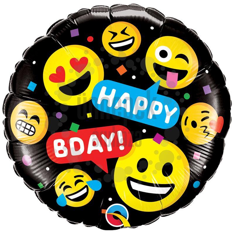 18 inch-es Smileys Happy Birthday! Szülinapi Fólia Lufi