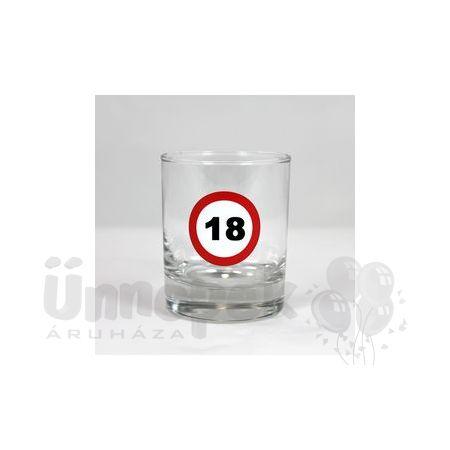 18-as Számos Sebességkorlátozó Szülinapi Whiskey-s Üvegpohár