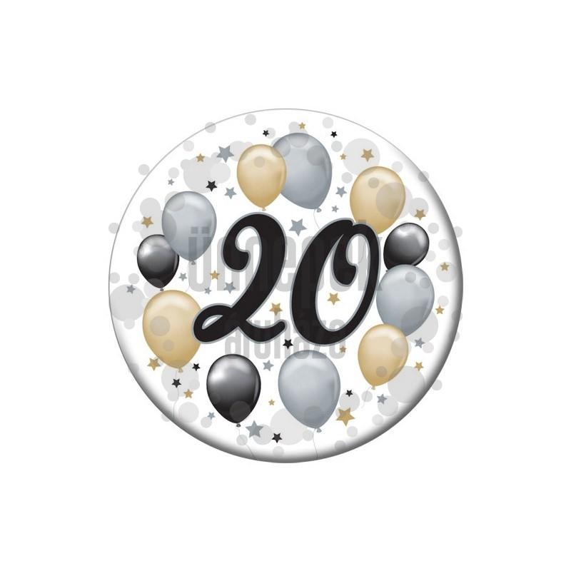 20-as Elegáns Léggömbös Szülinapi Számos Parti Kitűző - 5,5 cm