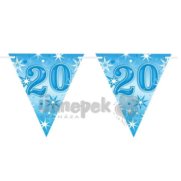 20-as Kék Sparkle Parti Zászlófüzér - 360 cm