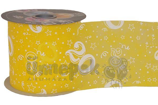 20-as Sárga Szülinapi Dekorációs Szalag, 12,5 cm, 50 méteres