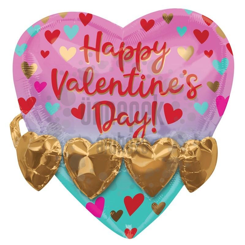 21 inch-es 3D Hatású Happy Valentine's Day! Feliratú Szív Fólia Lufi Valentin-napra